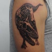 The Ace and Sword Tattoo Parlour Etobicoke Longbranch Toronto Tattoo by Danielle-Dinosaur Skeleton