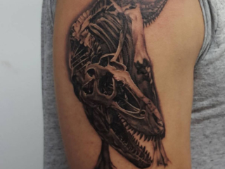 The Ace and Sword Tattoo Parlour Etobicoke Longbranch Toronto Tattoo by Danielle-Dinosaur Skeleton