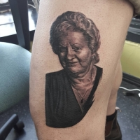The Ace and Sword Tattoo Parlour Etobicoke Longbranch Toronto Tattoo by Danielle-Portrait Thigh
