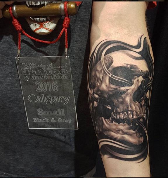 The Ace and Sword Tattoo Parlour Etobicoke Longbranch Toronto Tattoo by Danielle-Skull Forearm