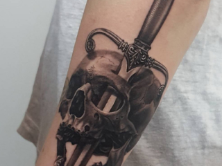 The Ace and Sword Tattoo Parlour Etobicoke Longbranch Toronto Tattoo by Danielle-Skull and Dagger