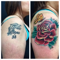 The Ace and Sword Tattoo Parlour Etobicoke Longbranch Toronto Tattoo by Dave-Rose Cover-up