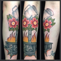 The Ace and Sword Tattoo Parlour Etobicoke Longbranch Toronto Tattoo by Dave-Stove and Flowers