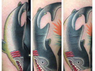 The Ace and Sword Tattoo Parlour Etobicoke Longbranch Toronto Tattoo by Dave-Traditional Shark Scar Cover-up