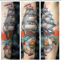 The Ace and Sword Tattoo Parlour Etobicoke Longbranch Toronto Tattoo by Dave-Traditional Ship