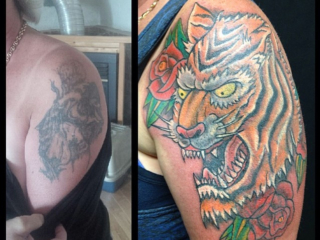 The Ace and Sword Tattoo Parlour Etobicoke Longbranch Toronto Tattoo by Dave-Traditional Tiger