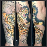 The Ace and Sword Tattoo Parlour Etobicoke Longbranch Toronto Tattoo by Dave-Traditional Tiger on Arm