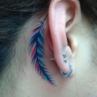 The Ace and Sword Tattoo Parlour Etobicoke Longbranch Toronto Tattoo by Elyse-Feather Behind Ear