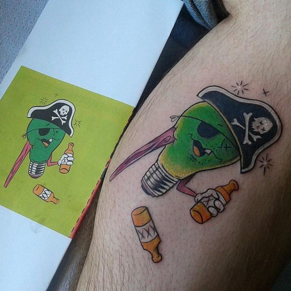 The Ace and Sword Tattoo Parlour Etobicoke Longbranch Toronto Tattoo by Elyse- Pirate Lightbulb
