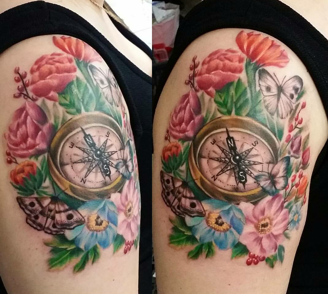 The Ace and Sword Tattoo Parlour Etobicoke Longbranch Toronto Tattoo by Laura-Compass and Flowers on Shoulder