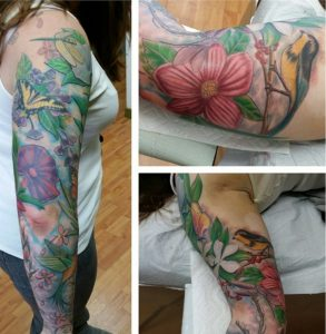 The Ace and Sword Tattoo Parlour Etobicoke Longbranch Toronto Tattoo by Laura-Flowers and Butterfly on Arm