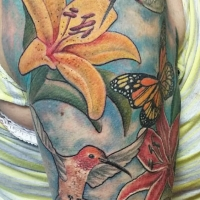 The Ace and Sword Tattoo Parlour Etobicoke Longbranch Toronto Tattoo by Laura-Lily Hummingbirds Butterfly on Arm